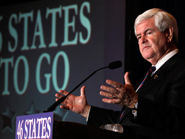 Republican presidential candidate former House Speaker Newt Gingrich speaks during a Florida Republican presidential primary night rally, Tuesday, Jan. 31, 2012, in Orlando, Fla