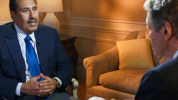 Qatar Prime Minister Sheik Hamid Bin Jassim Al Thani is seen in an interview with Charlie Rose.
