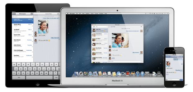 Mountain Lion's Messages app now works with iMessage to let users carry over conversations from their iOS devices to their computer.