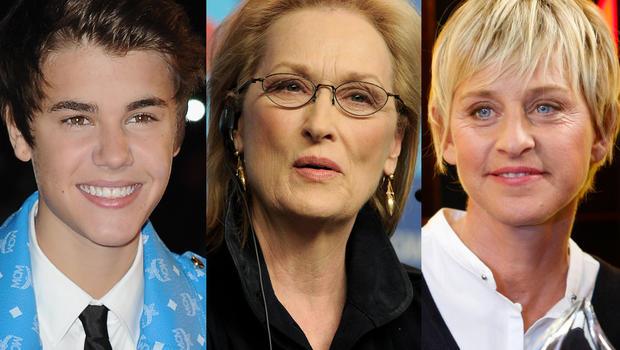 Justin Bieber, Meryl Streep and Ellen DeGeneres