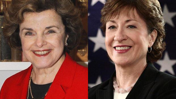 Sen. Dianne Feinstein (D, Calif.) and Sen. Susan Collins (R, Maine)