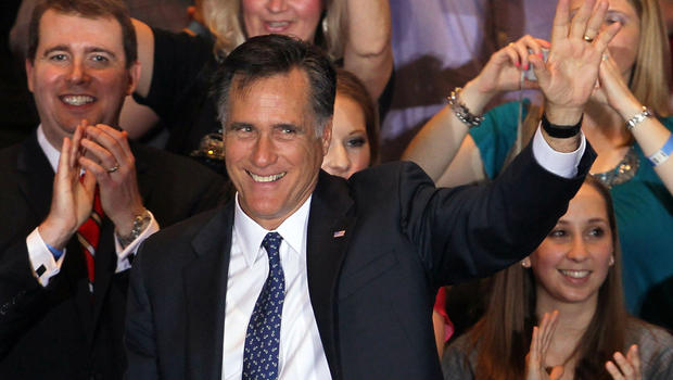 Mitt Romney greets supporters during  victory party at Renaissance Schaumburg Convention Center Hotel Tuesday night