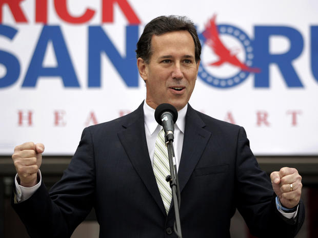 Rick Santorum addresses supporters outside the campaign headquarters