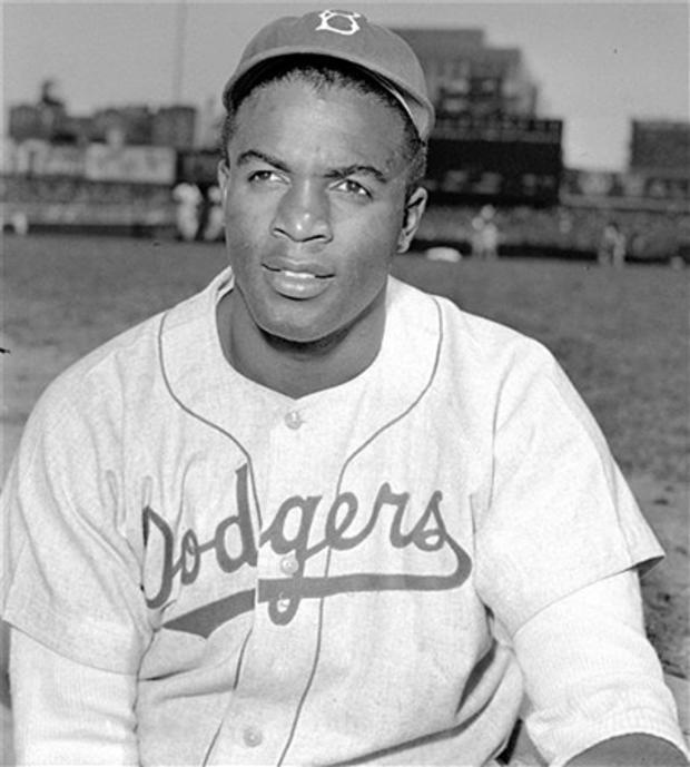 Brooklyn Dodgers infielder Jackie Robinson