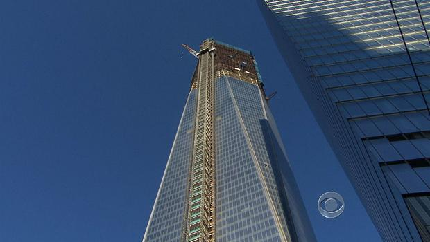A shot of construction at one World Trade Center in New York City.