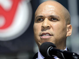 Newark Mayor Cory Booker talks during a news conference outside of the Prudential Center April 4, 2012, in Newark, N.J.