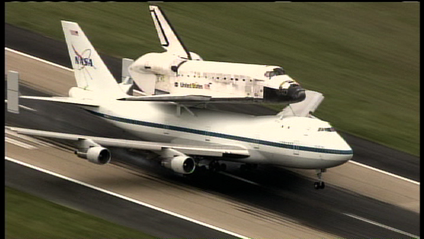 Space Shuttle Discovery Tues. April 17, 2012 as it hitched a ride from the Kennedy Space Center in Brevard, Fla., mounted atop a 747.