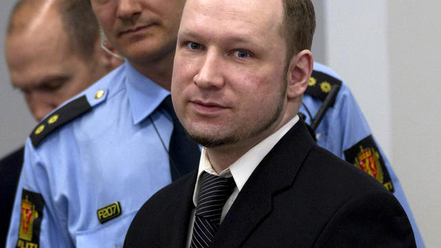 Self-confessed mass killer and right-wing extremist Anders Behring Breivik is seen at the central court in Oslo, Norway, April 19, 2012.