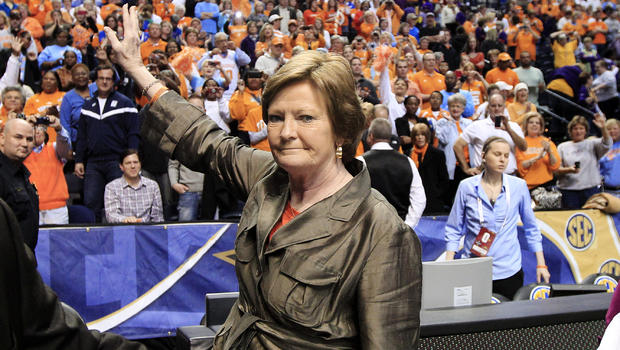 Tennessee head coach Pat Summitt waves to the fans