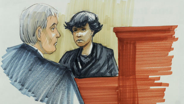 In this courtroom sketch, singer and actress Jennifer Hudson testifies Monday, April 23, 2012, in Chicago at the murder trial of William Balfour, charged in the October 2008 killings of her mother, brother and nephew. Looking on is Cook County Judge Charl