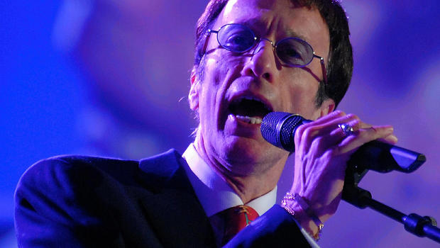 Pop star member of the Bee Gees, Robin Gibb, sings during the Energy Globe World award ceremony hosted by the European Parliament in Brussels April 11, 2007.