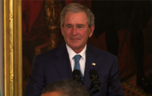 George W. Bush tears up talking about his dad