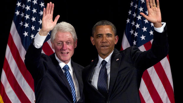 Former President Clinton and President Obama at campaign event at Waldorf Astoria Monday