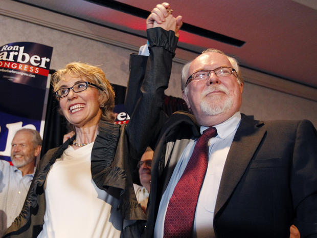 Ron Barber celebrates with Gabrielle Giffords
