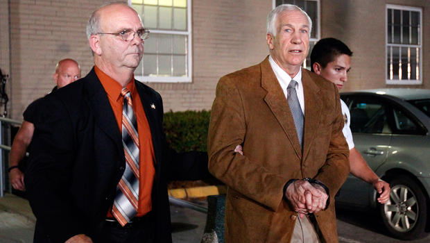 Jerry Sandusky, right, at the courthouse