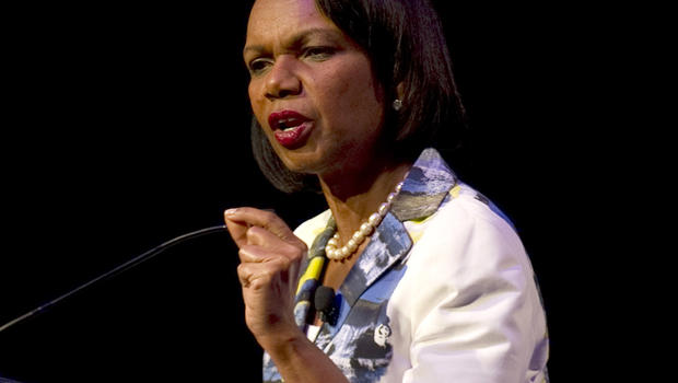 Former U.S. Secretary of State Condoleezza Rice gestures while delivering a speech at the National Auditorium in Mexico City Sept. 9, 2011.