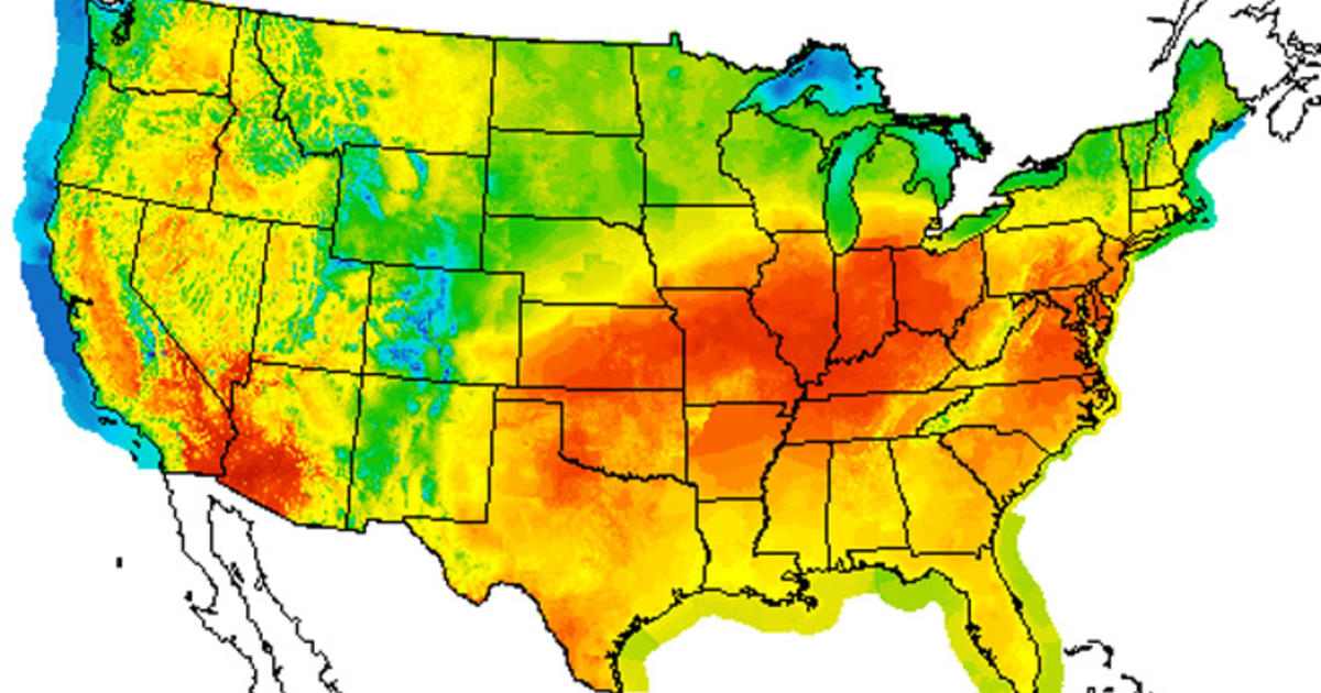 July Could Become Hottest Month Ever Recorded CBS News - Us summer temperature map
