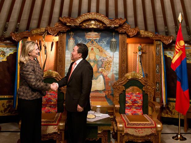 Secretary of State Hillary Clinton meets Mongolian President Elbegdorj Tsakhia