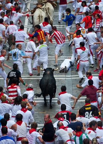Pamplona's Running of the Bulls 2012