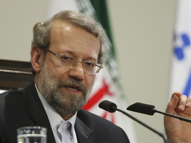 Iranian parliament speaker Ali Larijani, speaks with media, during a press conference, in Tehran, Iran, Monday, Sept. 19, 2011.
