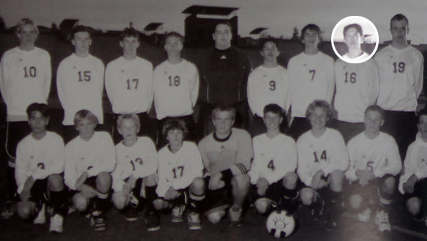James Holmes is pictured with the Junior Varsity soccer team of Westview High in San Diego in either 2003 or 2004.