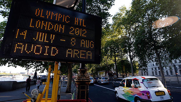 A general view of signs for traffic ahead of the London 2012 Olympic Games on July 23, 2012 in London, England.
