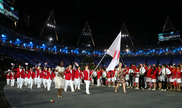 Athletes march at Olympic Opening Ceremony