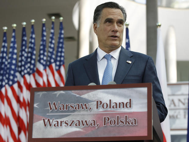 Romney wraps up overseas trip with speech in Poland