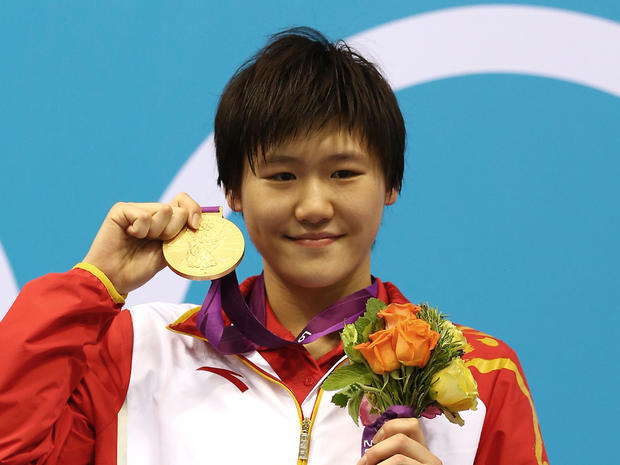 Ye Shiwen shows off her gold, won in the Women's 400m Individual Medley