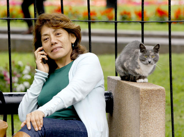 A woman talks on her phone as a cat sits on an arm rest nearby, in the central park of Lima's upscale seaside Miraflores district, in Peru, Wednesday, Aug. 2, 2012.