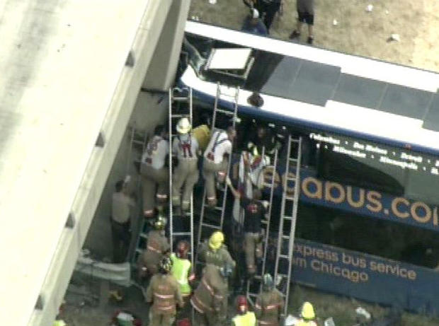 20 ambulances and two medevac choppers responded to the scene where a Megabus crashed into a bridge pillar in Illinois Thursday afternoon.