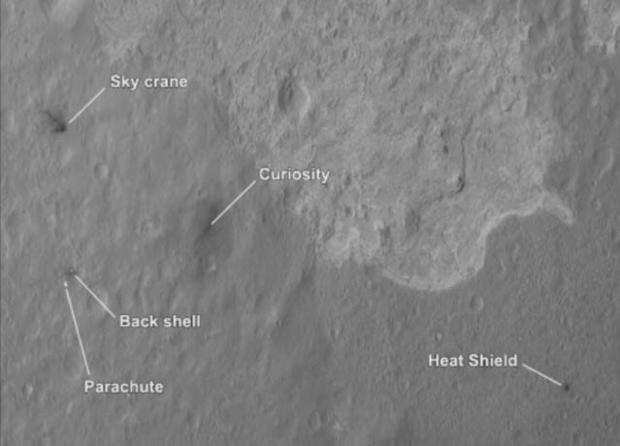 The Mars Reconnaissance Orbiter spots the landing sight of Curiosity.