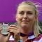 Maria Sharapova poses on the podium