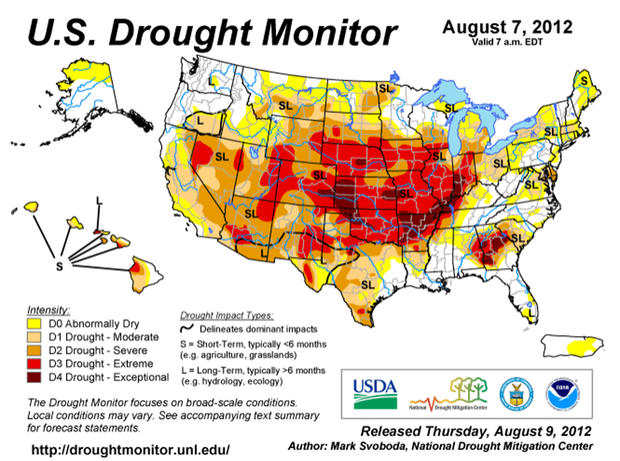 The US Drought Monitor, a partnership of government agencies and the University of Nebraska-Lincoln, uses several indices to track and forcast drought. The above map was released Thursday, Aug. 9 2012.