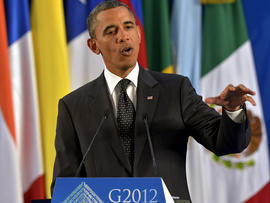 President Obama speaks at the end of the G20 Summit of Heads of State and Government in Los Cabos, Mexico, June 19, 2012.