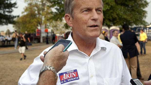 Rep. Todd Akin, R-Mo., talks with reporters while attending the Governor's Ham Breakfast at the Missouri State Fair in Sedalia, Mo., Aug. 16, 2012.