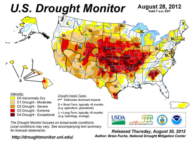 The National Drought Mitigation Center's drought monitoring map, published Aug. 28, 2012.