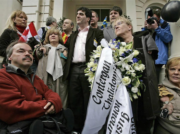 Campaigners from the International Contergan Thalidomide Alliance, many who were victims of the drug themselves, attend a protest outside the German embassy in London, April 3, 2008.