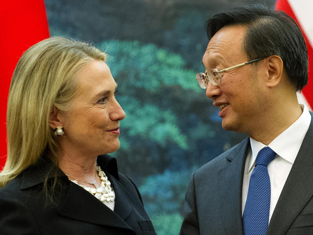 Hillary Rodham Clinton speaks to Chinese Foreign Minister Yang Jiechi