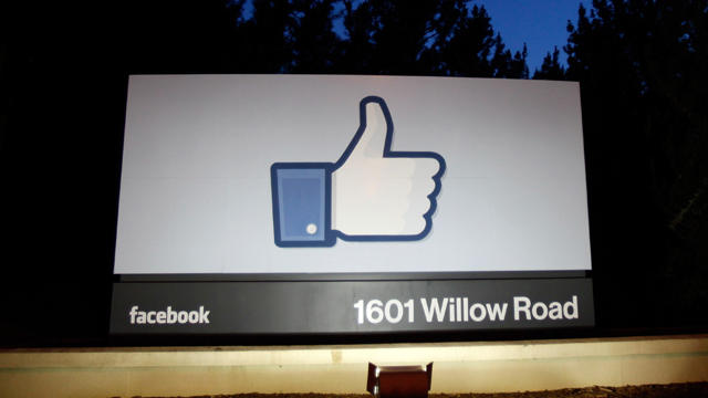 A 'like' sign stands at the entrance of Facebook headquarters on May 18, 2012 in Menlo Park, Calif