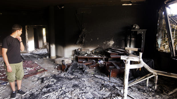 The damage inside the burnt U.S. Consulate in Benghazi, Libya, is seen Sept. 13, 2012, following an attack on the building Sept. 11, 2012.