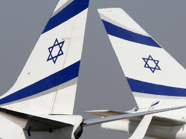 Two boeing aircraft of Israeli airline EL AL sit on tarmac at Ben Gurion International airport