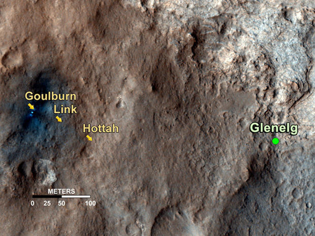 This map shows the path on Mars of NASA's Curiosity rover toward Glenelg, an area where three terrains of scientific interest converge. Arrows mark geological features encountered so far that led to the discovery of what appears to be an ancient stream bed.