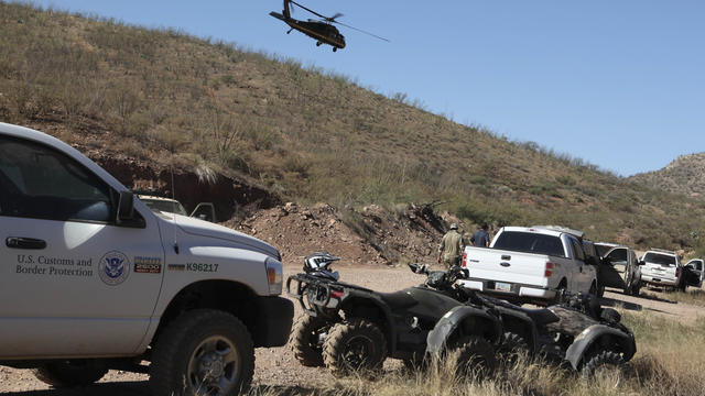 Photo provided by U.S. Customs and Border Protection shows law enforcement forces at command post in desert near Naco, Ariz. after Border Patrol agent was shot to death