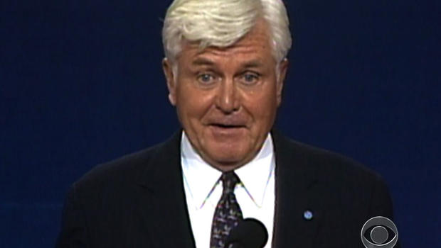 Admiral William Stockdale stumbles during a vice presidential debate against Ross Perot in 1992.