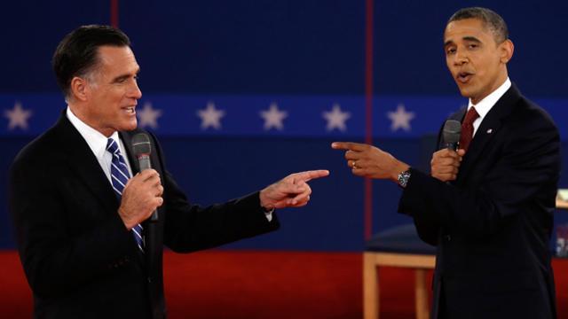 Republican presidential nominee Mitt Romney and President Barack Obama spar on October 16, 2012, during the second presidential debate at Hofstra University in Hempstead, N.Y.