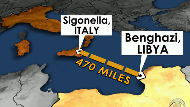 A team of American military commandos was sent from Europe to an airfield at Sigonella, in Sicily, Italy, putting them at least an hour's flight away from Benghazi.
