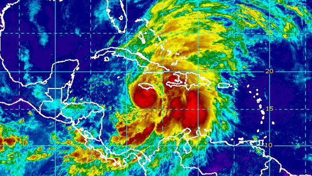 Hurricane Sandy is seen in this infrared satellite image taken at 10:45 a.m. ET Oct. 24, 2012.
