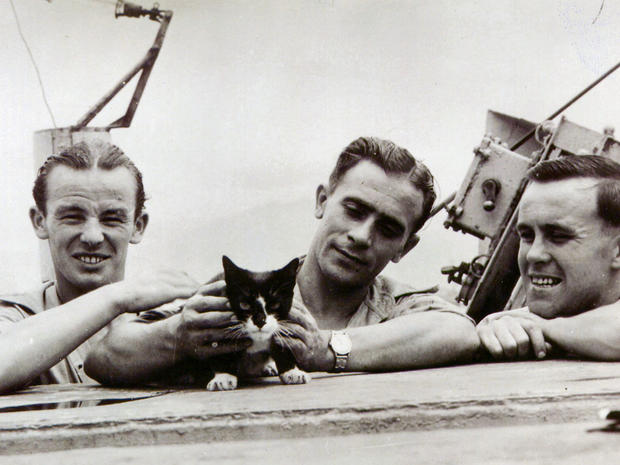 Simon the cat is pictured in this 1945 photo with unidentified crew members.