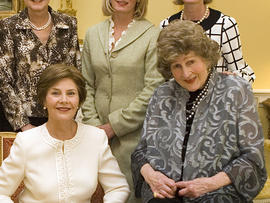 First Lady Laura Bush, left, and Letitia Baldrige at the White House on Oct. 9, 2007,  during a tea in honor of the social secretary during the Kennedy administration.